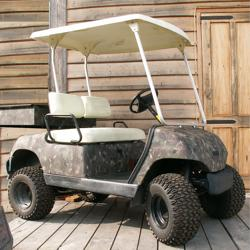 Yamaha Golf Cart with New Diesel Engine, Jake's Lift Kit and knobby tires, steel cargo bed.