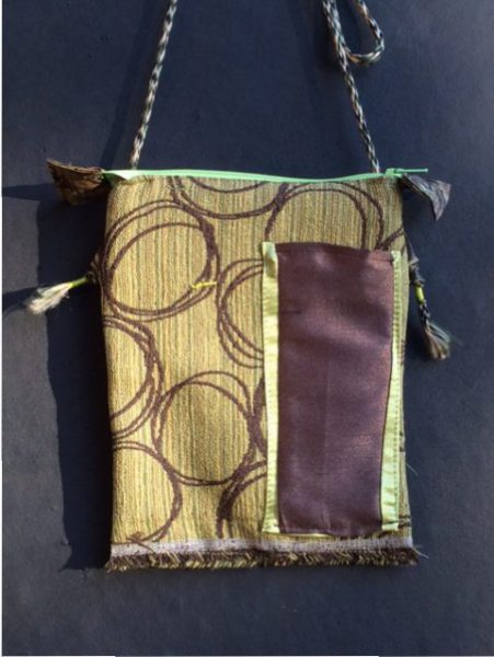 Tibetan Style Passport Bag Front - brown, lime green, fringe