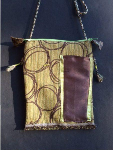 Tibetan Style Passport Bag Front - brown, lime green, fringe