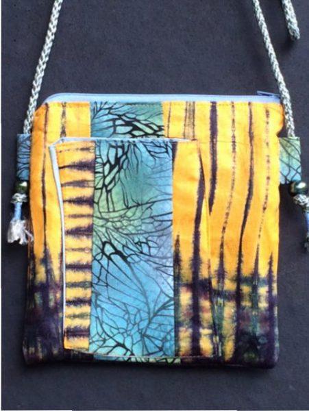 Tibetan Inspired Passport Bag Front - shibori batik nature gold purple blue