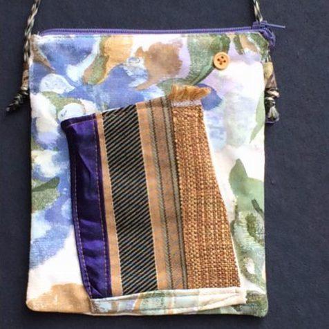 Tibetan Style Passport Bag Front - purple, blue, green gold watercolor look