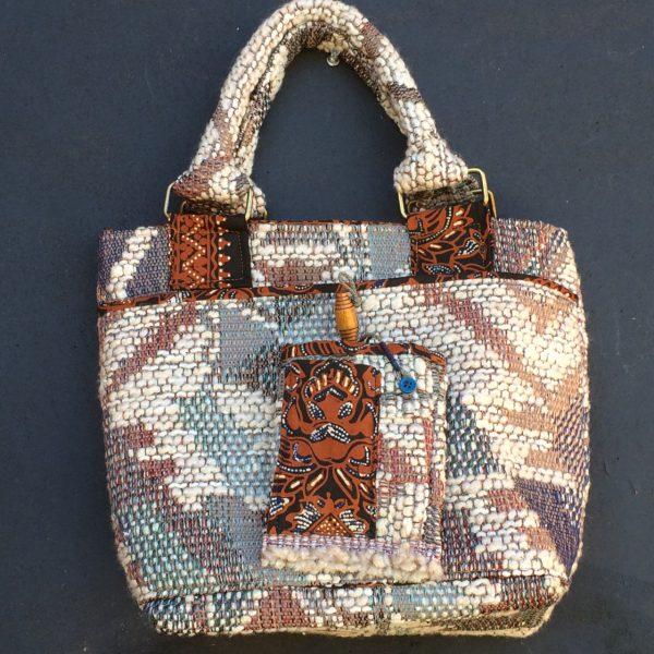 Batik lined Upholstery remnant handbag.