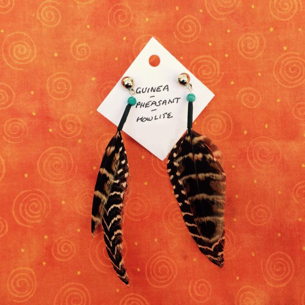 feather-earrings-pheasant-guinea-aqua-howlite-post-orangebg