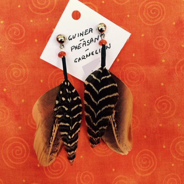 feather-earrings-pheasant-guinea-chevron-carnelian-orangebg