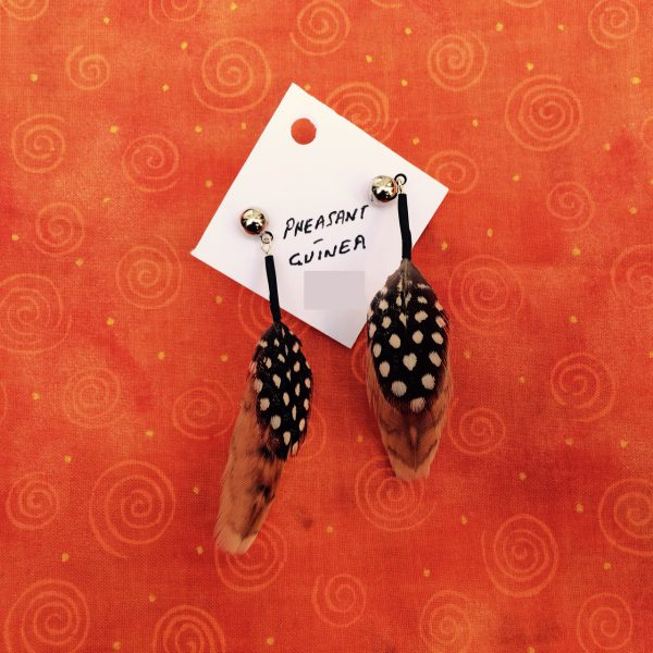 feather-earrings-pheasant-guinea-orangebg
