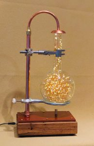 dimmable copper and glass table lamp