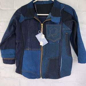 denim lovers will adore this indigo overdyed child's denim jacket