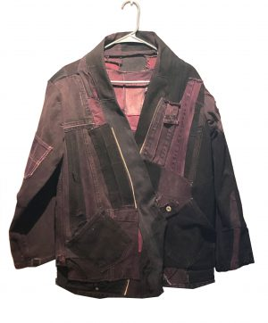 boro inspired red denim hip-length jacket with large front pockets