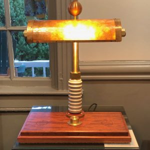 stunning Bubinga and mica lamp with wireless phone charging
