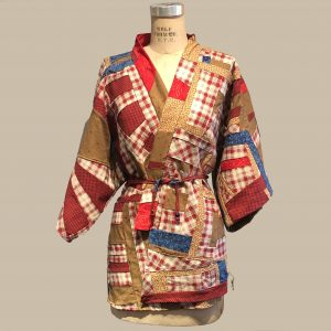 kimono inspired short coat -red and white and brown with blue accents