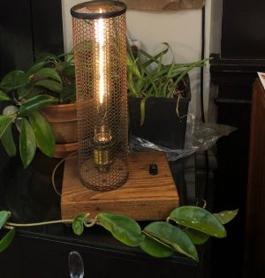 metal, light, and wood table lamp