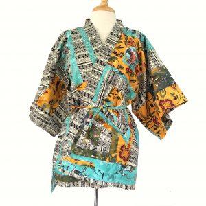 pieced cotton kimono-inspired top - Golden