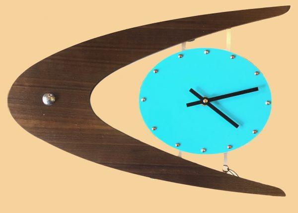 mcm clock aluminum atomic ball on walnut boomerang